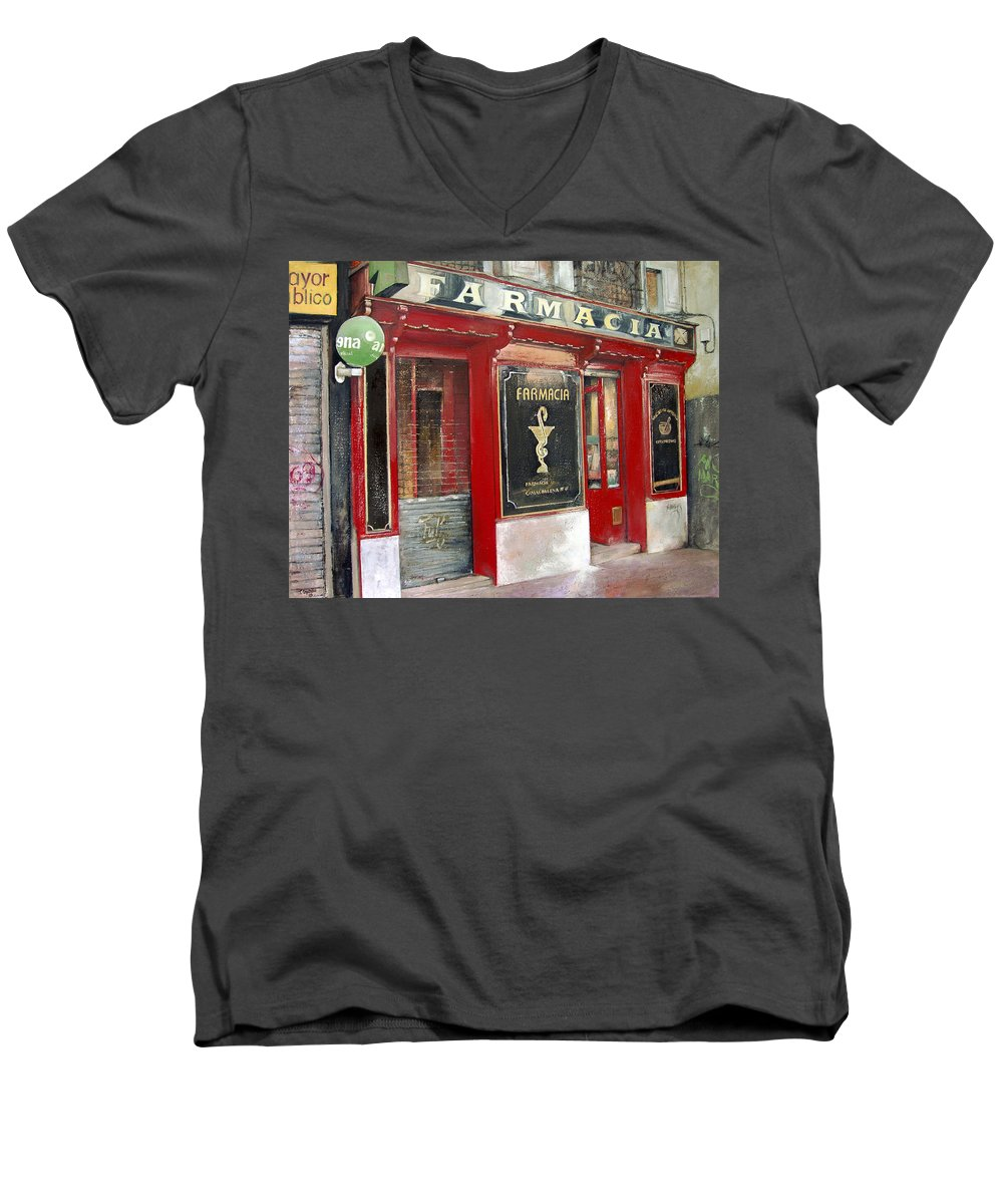 Farmacia Men's V-Neck T-Shirt featuring the painting Old Pharmacy by Tomas Castano