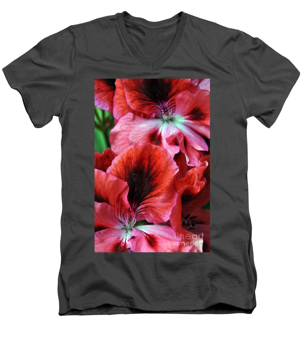Clay Men's V-Neck T-Shirt featuring the photograph Red Floral by Clayton Bruster