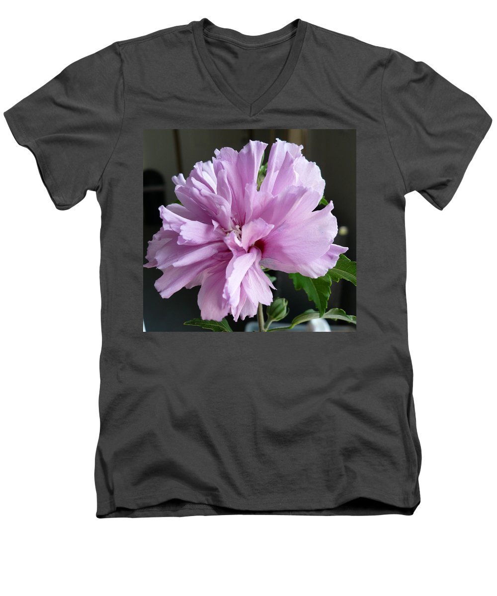 Phoyography.hibiscus Flower Floral Bloom Bush Pink Men's V-Neck T-Shirt featuring the photograph So Pink by Karin Dawn Kelshall- Best
