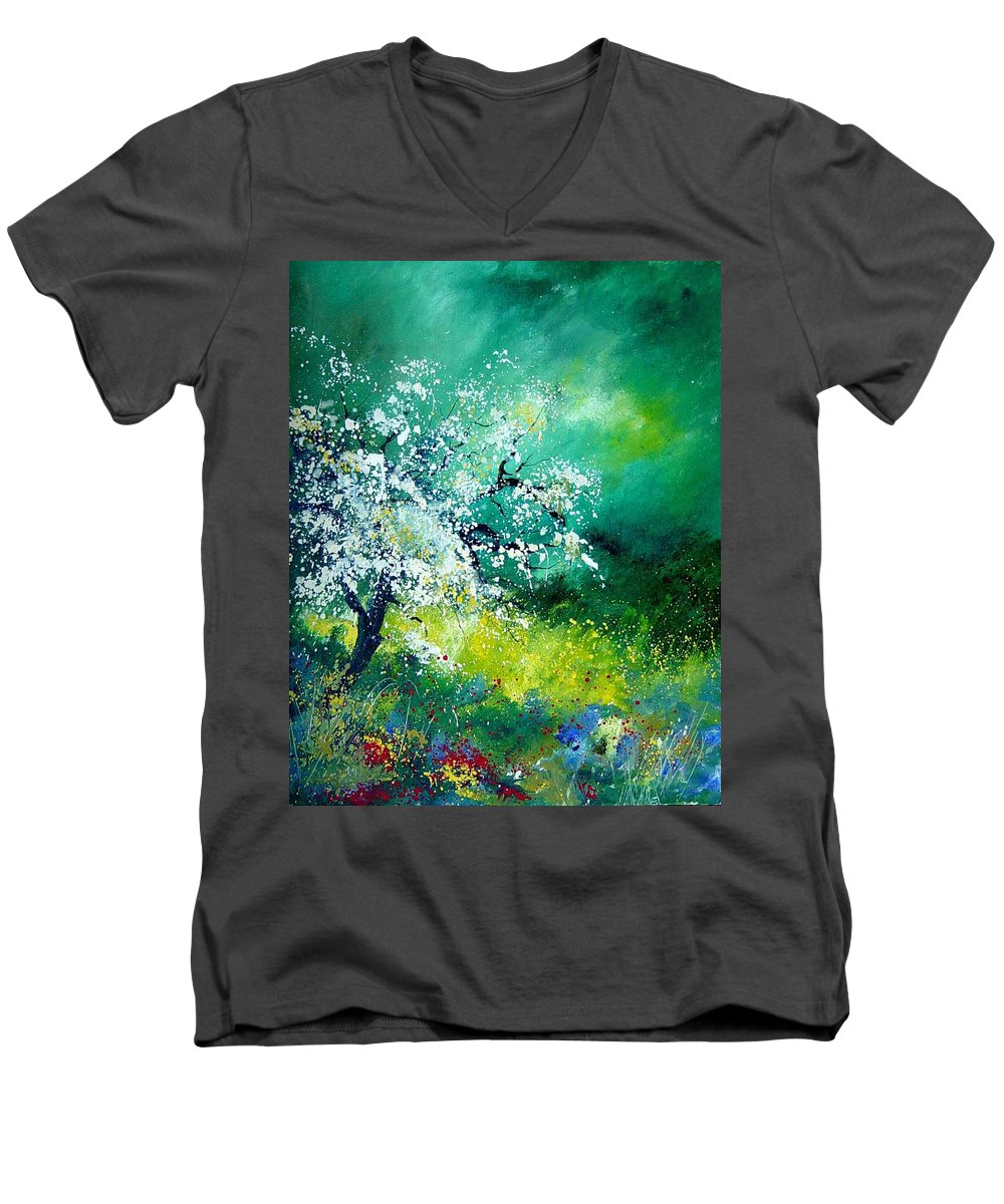 Flowers Men's V-Neck T-Shirt featuring the painting Spring by Pol Ledent