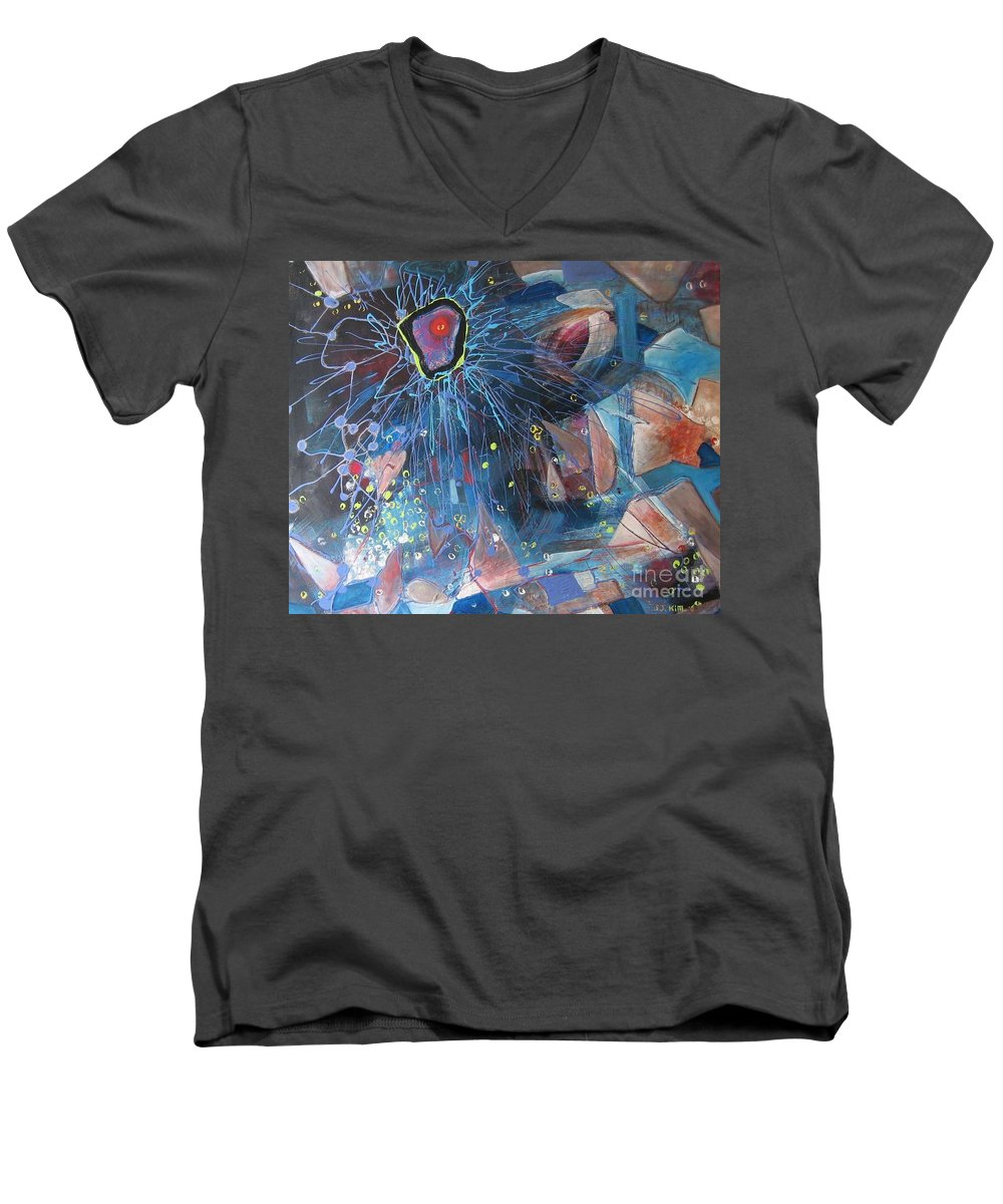 Abstract Paintings Men's V-Neck T-Shirt featuring the painting Storm At Sea by Seon-Jeong Kim