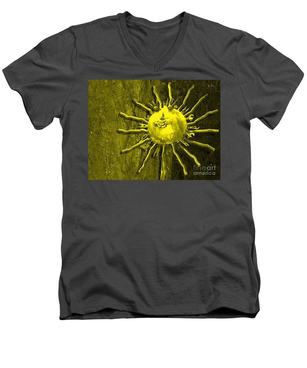 Sun Men's V-Neck T-Shirt featuring the photograph Sun Tool by Debbi Granruth