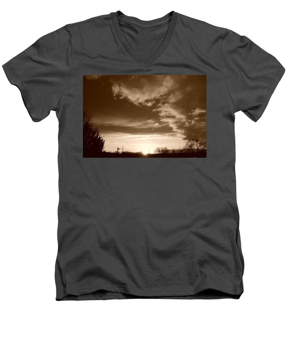 Sunset Men's V-Neck T-Shirt featuring the photograph Sunset And Clouds by Rob Hans