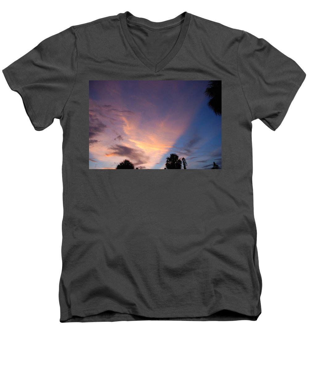 Sunset Men's V-Neck T-Shirt featuring the photograph Sunset At Pine Tree by Rob Hans