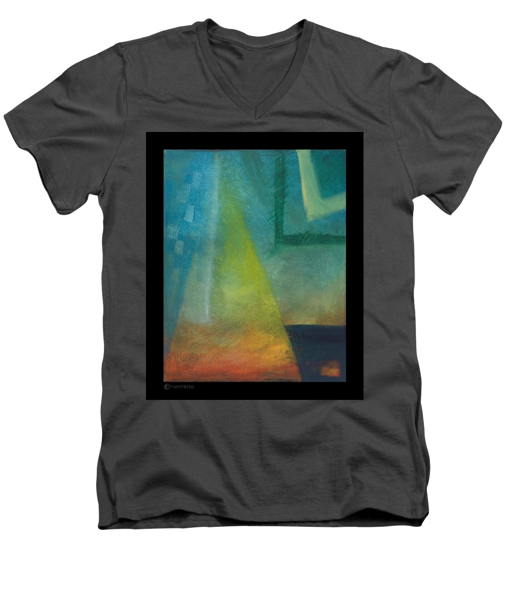 Sunset Men's V-Neck T-Shirt featuring the painting Sunset Sail by Tim Nyberg