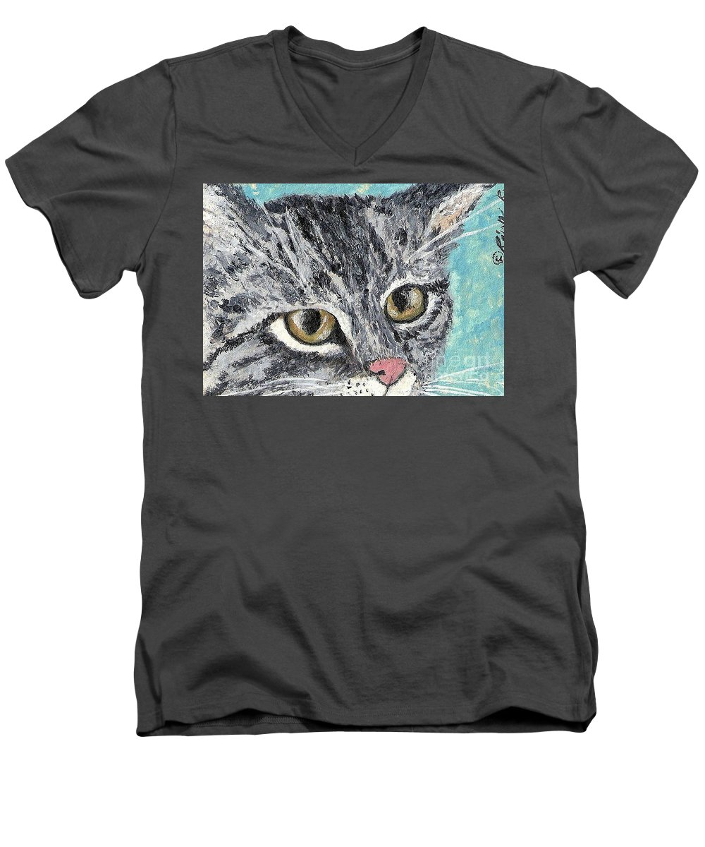 Cats Men's V-Neck T-Shirt featuring the painting Tiger Cat by Reina Resto