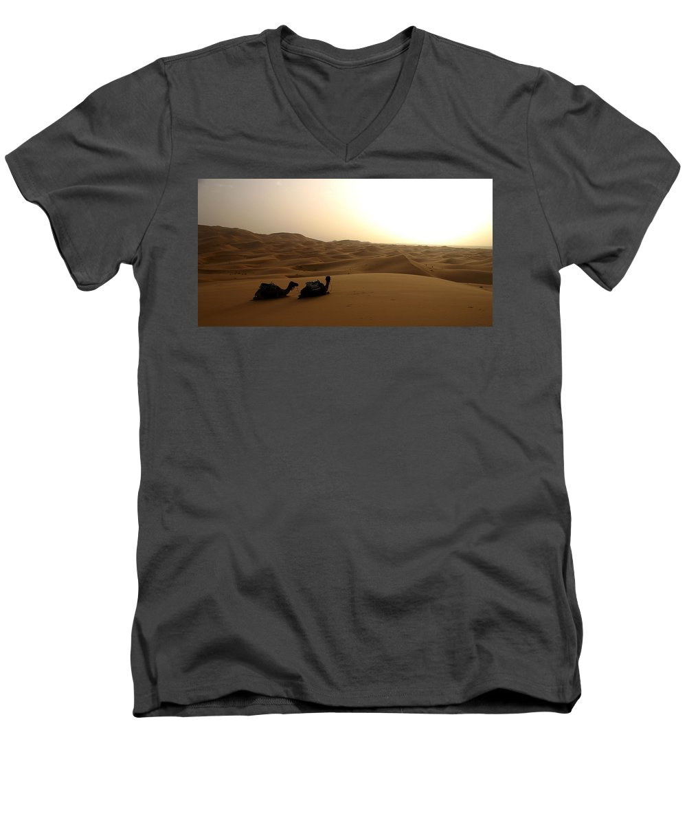 Camel Men's V-Neck T-Shirt featuring the photograph Two Camels At Sunset In The Desert by Ralph A Ledergerber-Photography