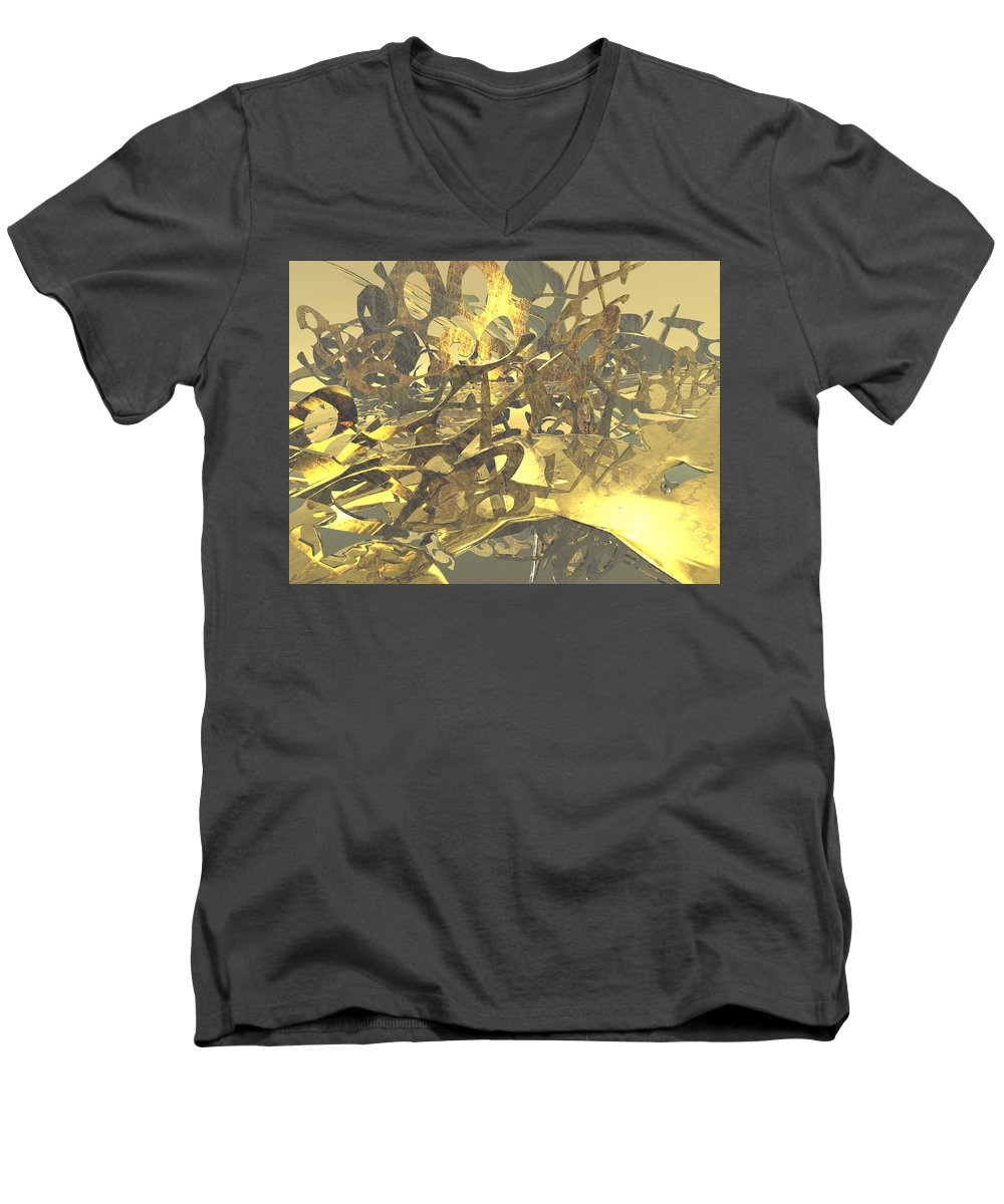 Scott Piers Men's V-Neck T-Shirt featuring the painting Urban Gold by Scott Piers