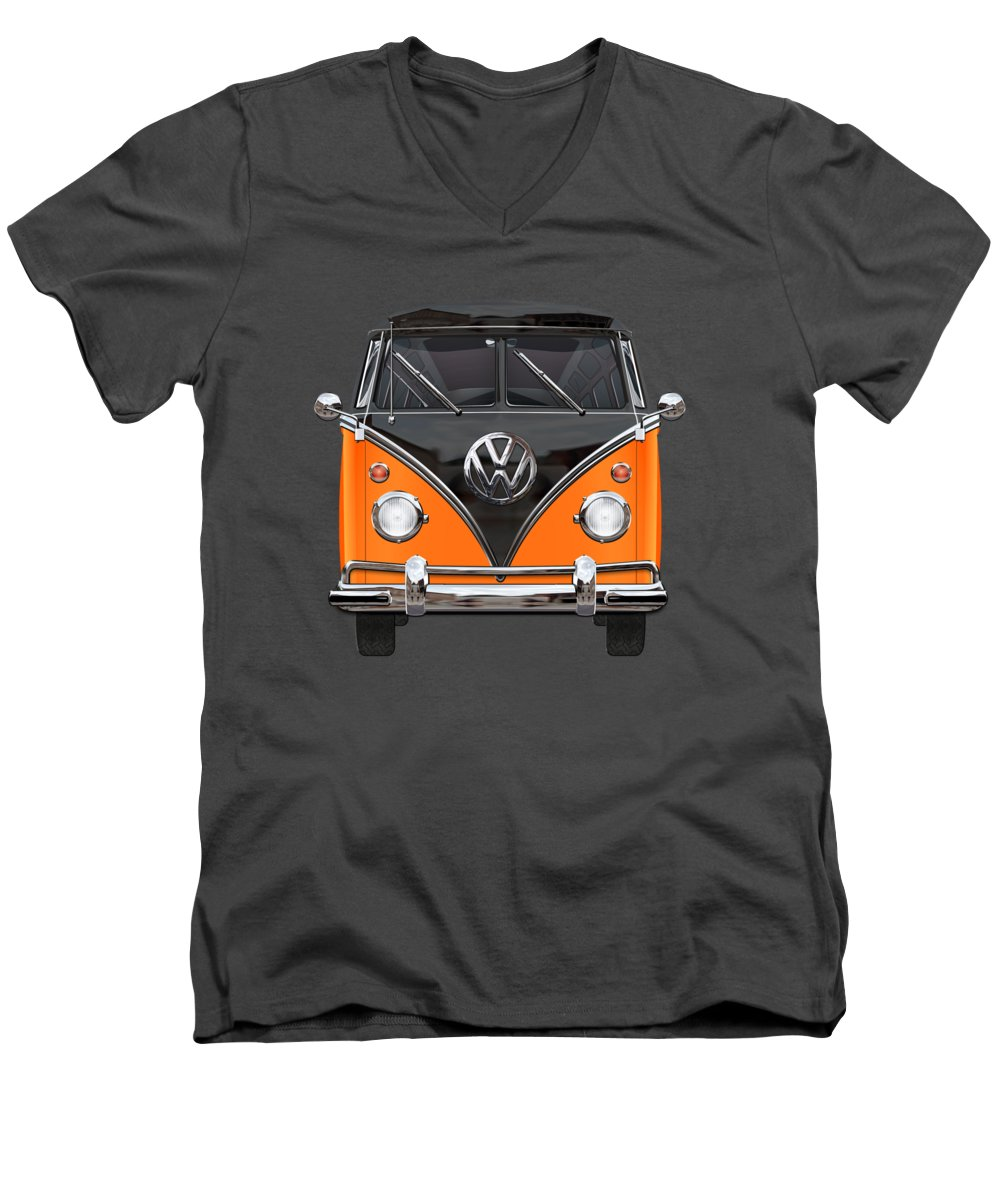 'volkswagen Type 2' Collection By Serge Averbukh Men's V-Neck T-Shirt featuring the photograph Volkswagen Type 2 - Black And Orange Volkswagen T 1 Samba Bus Over Blue by Serge Averbukh