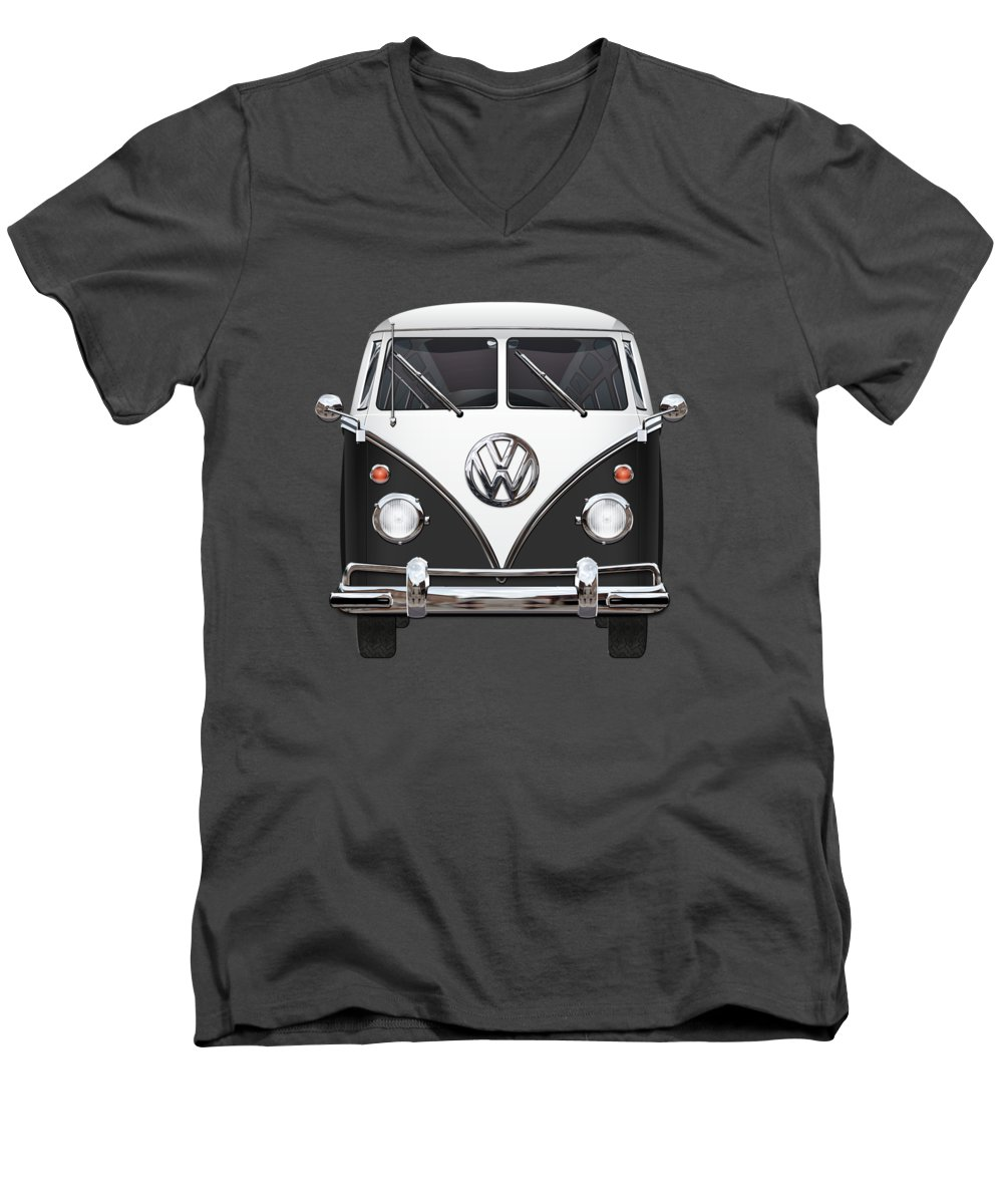 'volkswagen Type 2' Collection By Serge Averbukh Men's V-Neck T-Shirt featuring the photograph Volkswagen Type 2 - Black And White Volkswagen T 1 Samba Bus On Red by Serge Averbukh