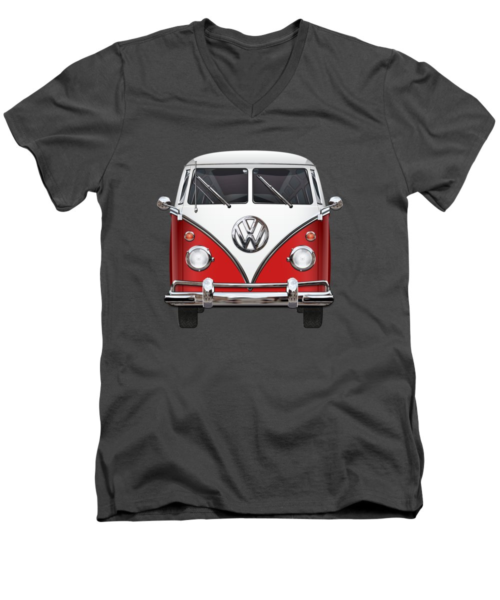 'volkswagen Type 2' Collection By Serge Averbukh Men's V-Neck T-Shirt featuring the photograph Volkswagen Type 2 - Red And White Volkswagen T 1 Samba Bus Over Green Canvas by Serge Averbukh