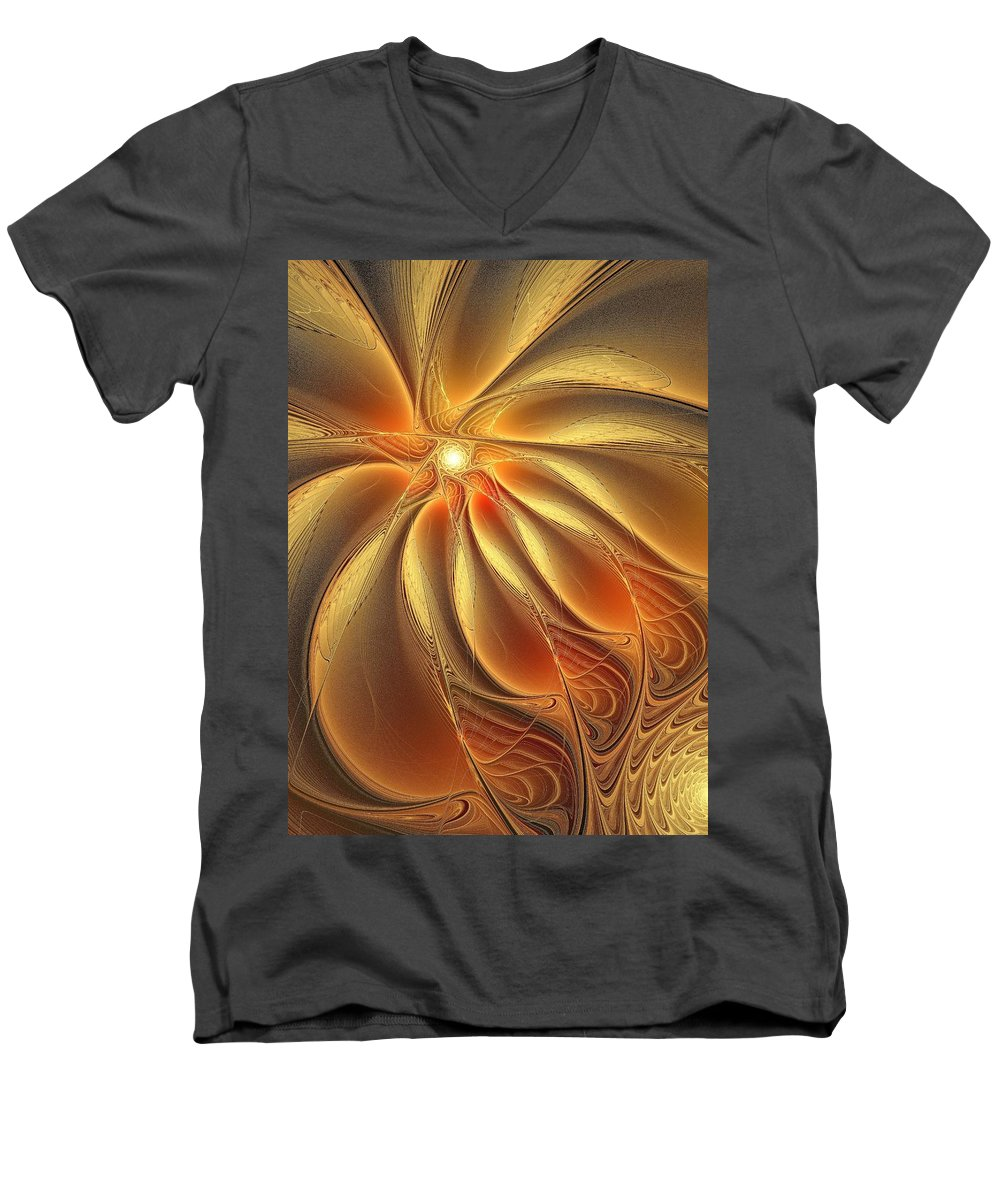Digital Art Men's V-Neck T-Shirt featuring the digital art Warm Feelings by Amanda Moore