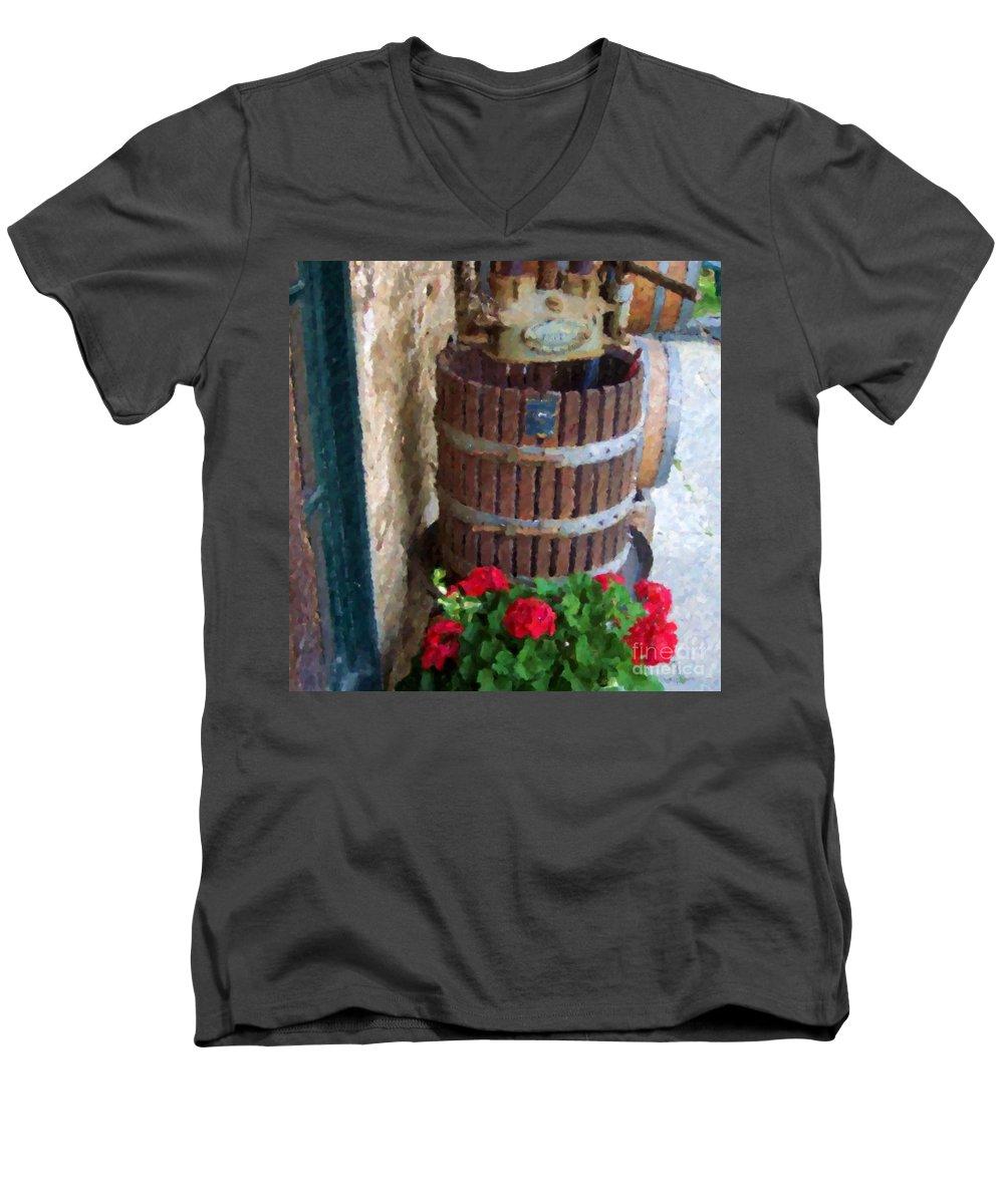 Geraniums Men's V-Neck T-Shirt featuring the photograph Wine And Geraniums by Debbi Granruth