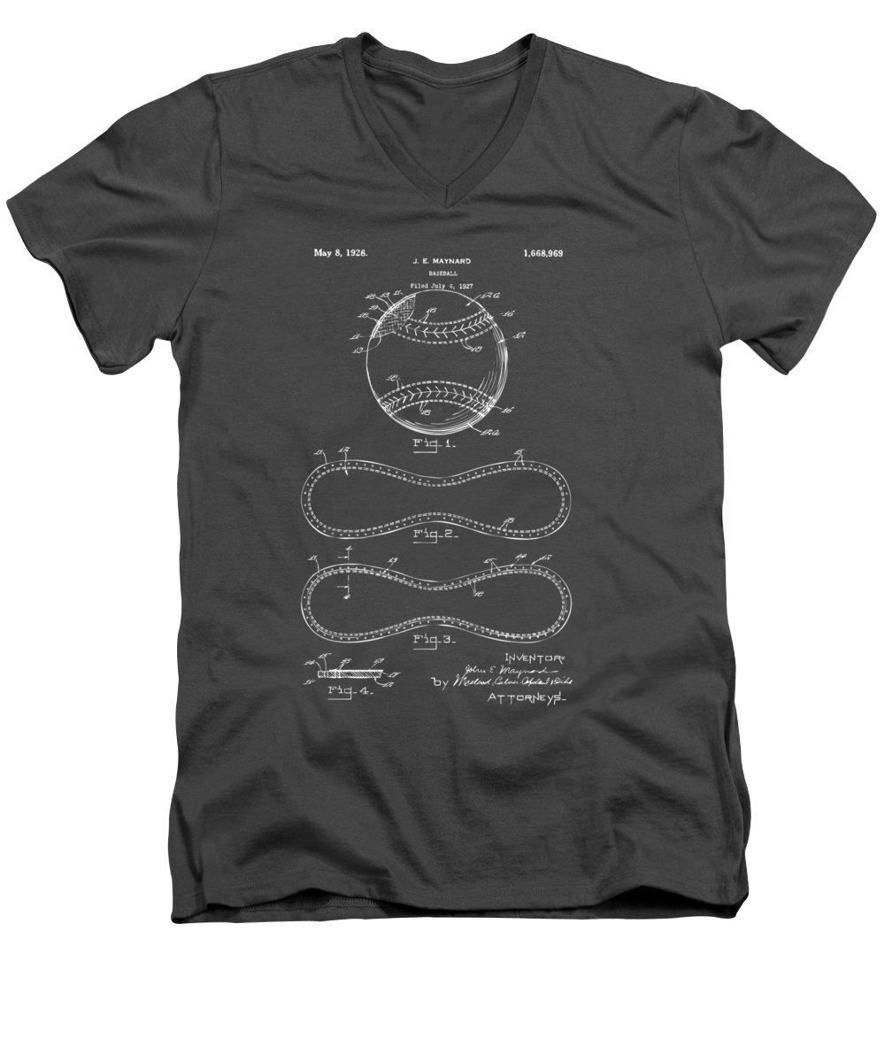 Baseball Men's V-Neck T-Shirt featuring the digital art 1928 Baseball Patent Artwork Red by Nikki Marie Smith