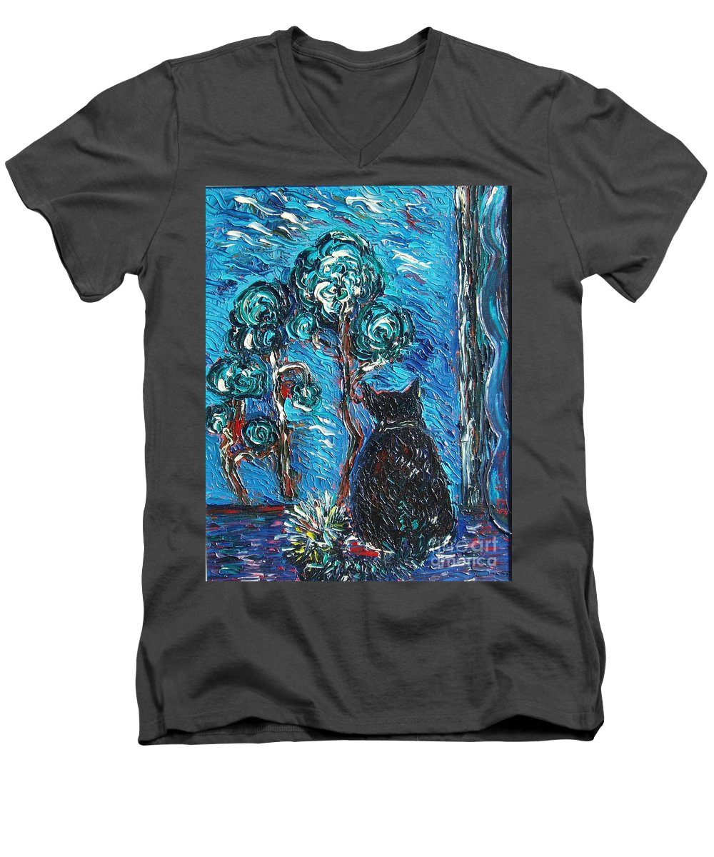 Cat Paintings Men's V-Neck T-Shirt featuring the painting A Black Cat by Seon-Jeong Kim