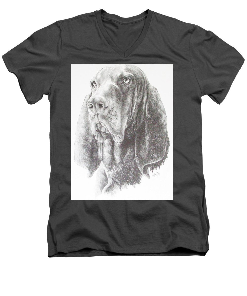 Dog Men's V-Neck T-Shirt featuring the drawing Black And Tan Coonhound by Barbara Keith