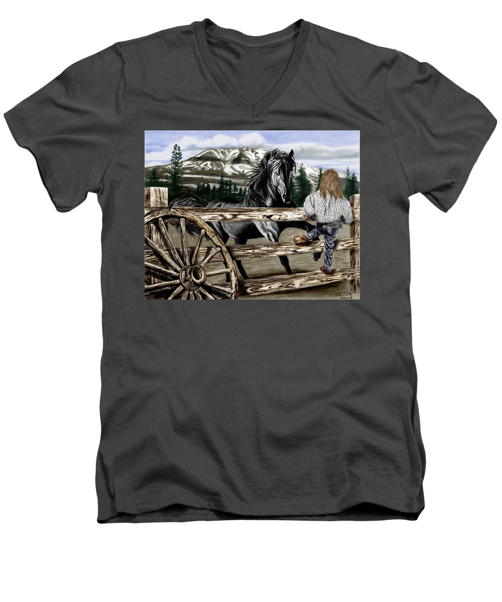 Hello Girl Men's V-Neck T-Shirt featuring the drawing Hello Girl by Peter Piatt