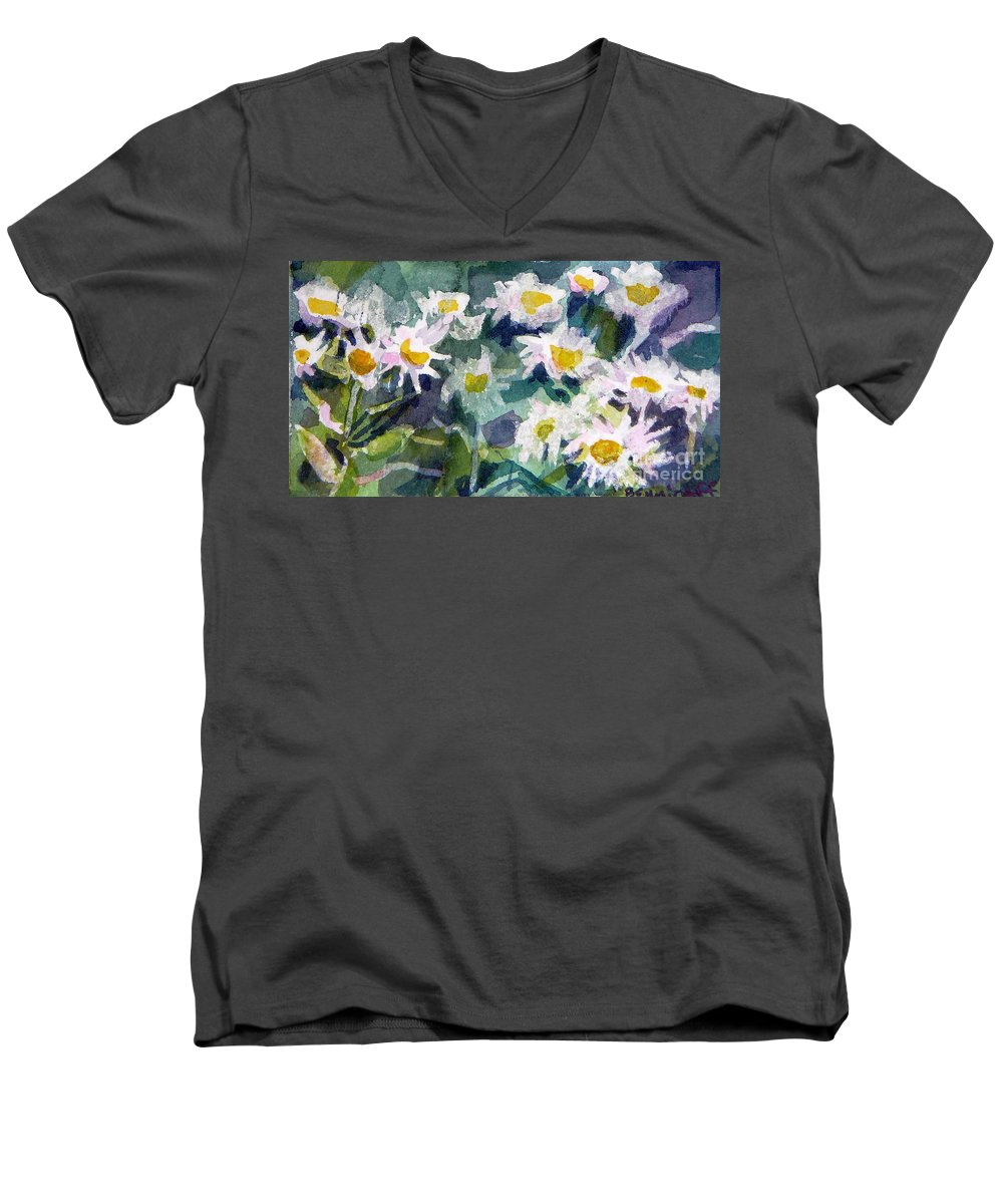 Flowers Men's V-Neck T-Shirt featuring the painting Little Asters by Jan Bennicoff