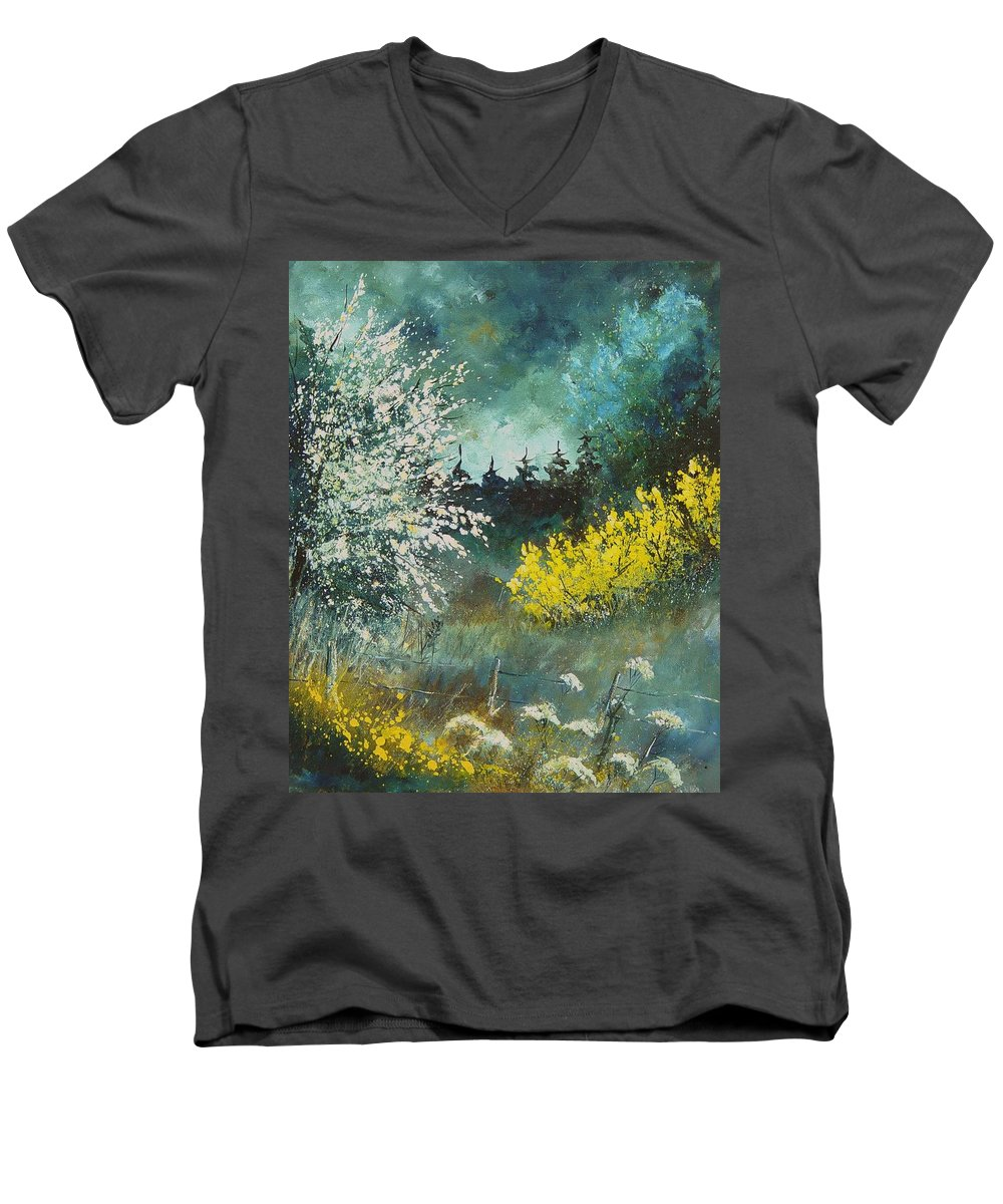 Spring Men's V-Neck T-Shirt featuring the painting Spring by Pol Ledent