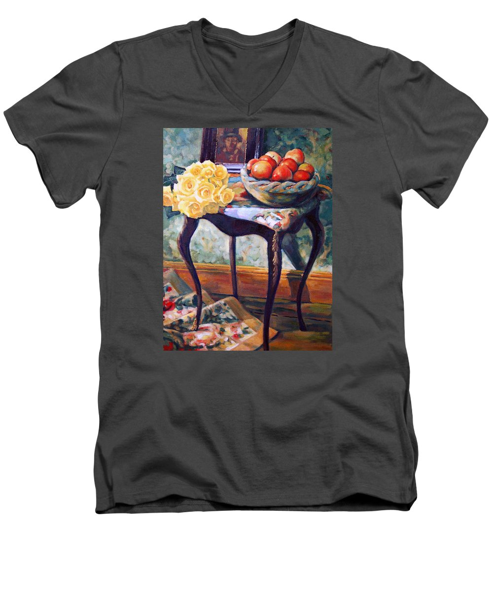 Still Life Men's V-Neck T-Shirt featuring the painting Still Life With Roses by Iliyan Bozhanov