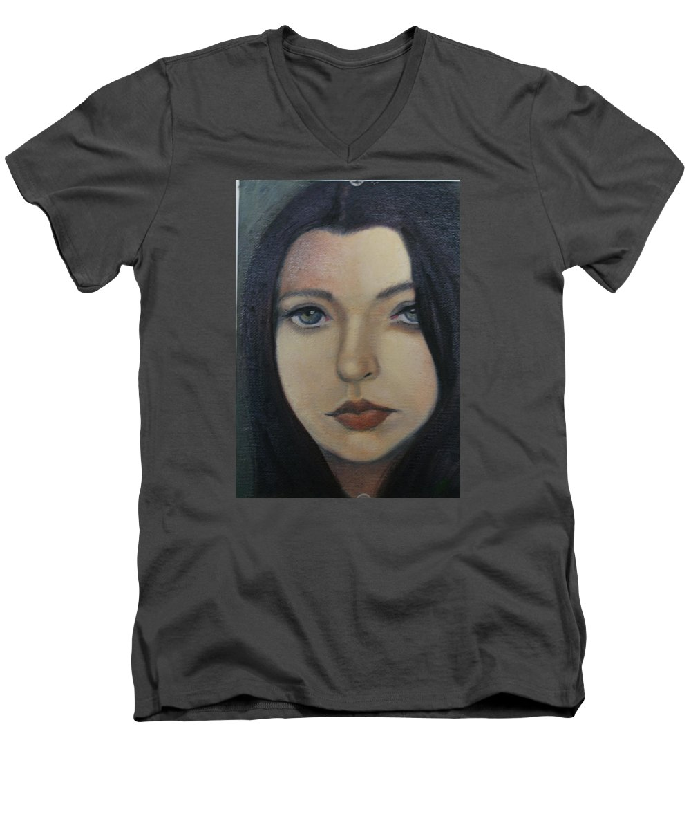 Girl Men's V-Neck T-Shirt featuring the painting That Stare by Toni Berry