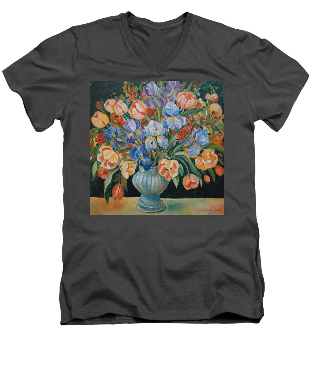Still Life Men's V-Neck T-Shirt featuring the painting Tulips by Alexandra Maria Ethlyn Cheshire