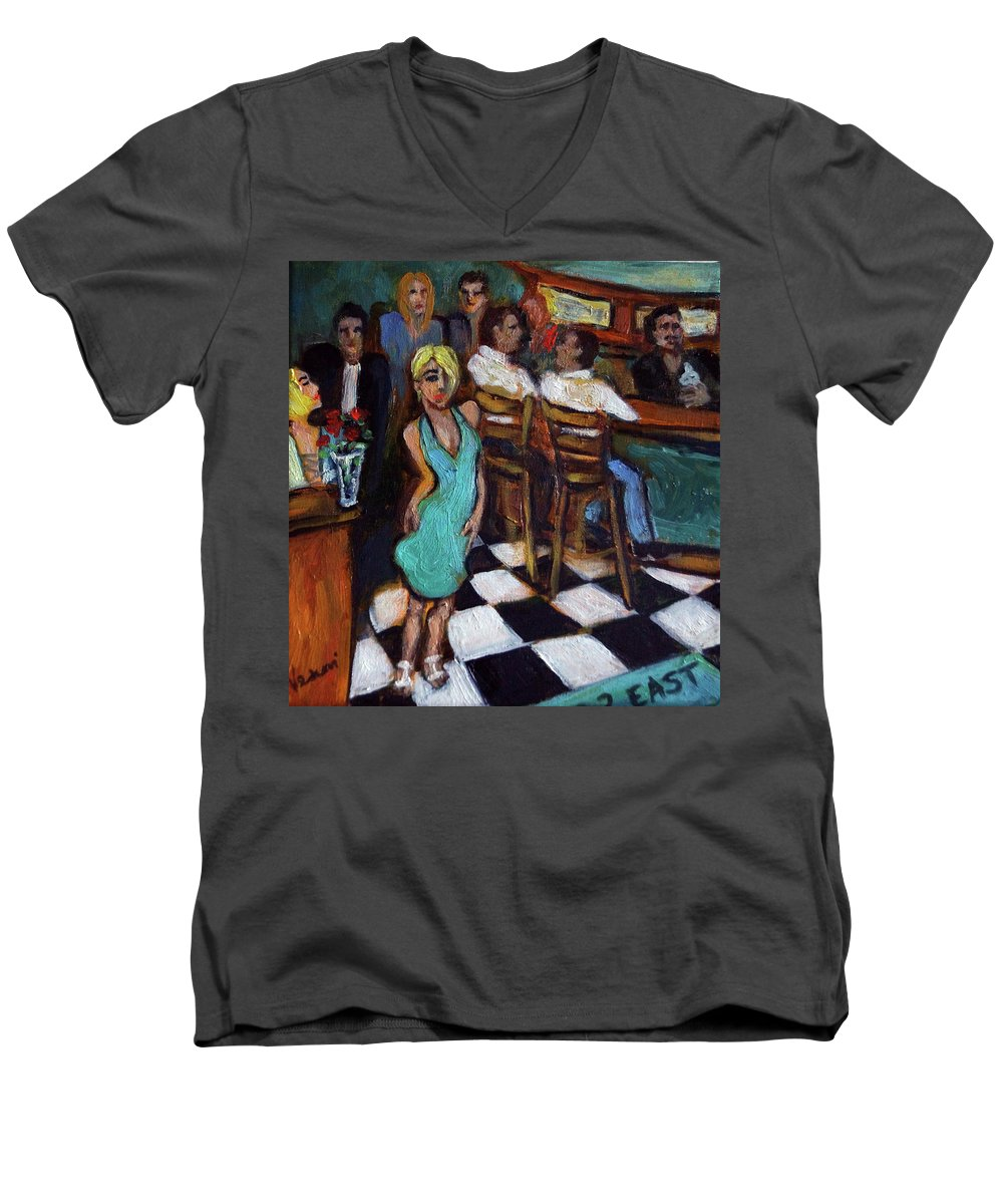 Restaurant Men's V-Neck T-Shirt featuring the painting 32 East by Valerie Vescovi
