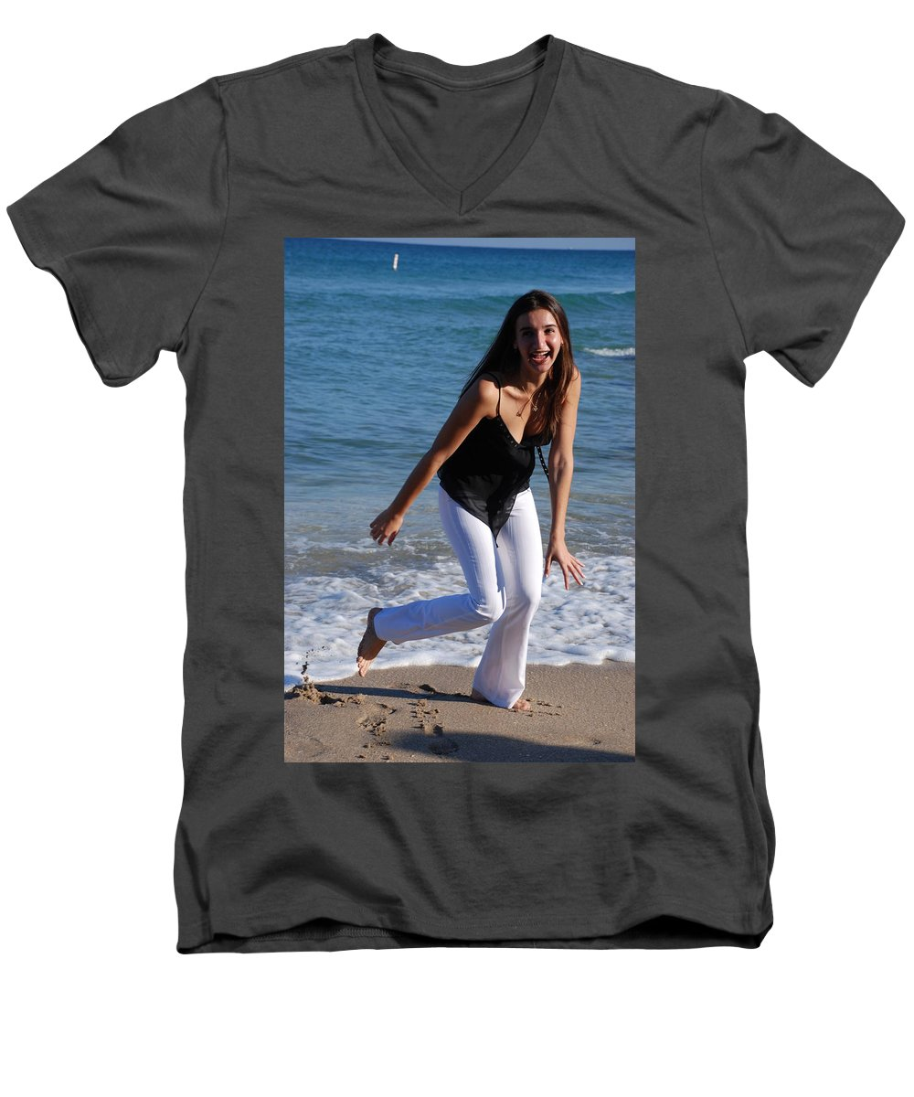 Sea Scape Men's V-Neck T-Shirt featuring the photograph Gisele by Rob Hans