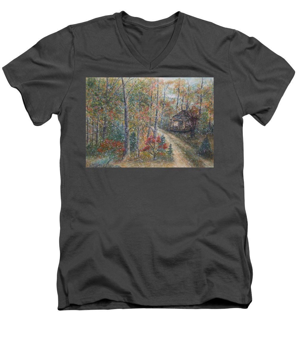 Country Road; Old House; Trees Men's V-Neck T-Shirt featuring the painting A Bend In The Road by Ben Kiger