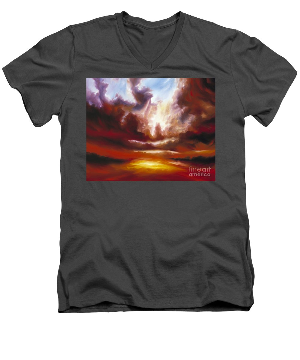 Tempest Men's V-Neck T-Shirt featuring the painting A Cosmic Storm - Genesis V by James Christopher Hill