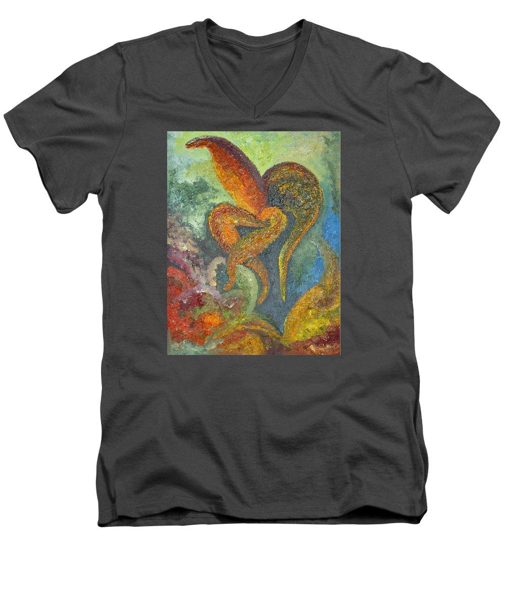 Flower Men's V-Neck T-Shirt featuring the painting A Dancing Flower by Karina Ishkhanova