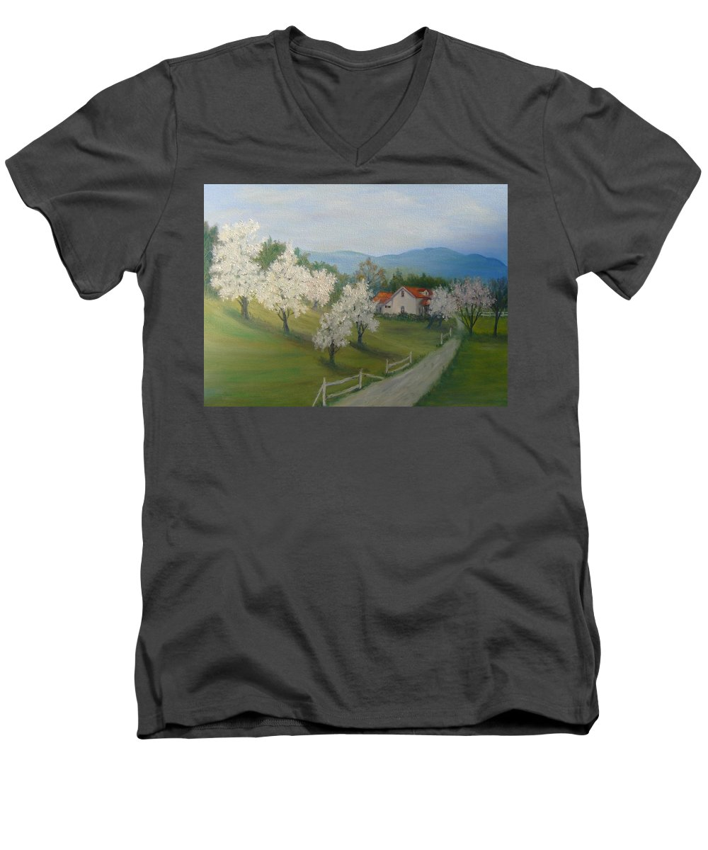 Landscape; Spring; Mountains; Country Road; House Men's V-Neck T-Shirt featuring the painting A Day In The Country by Ben Kiger