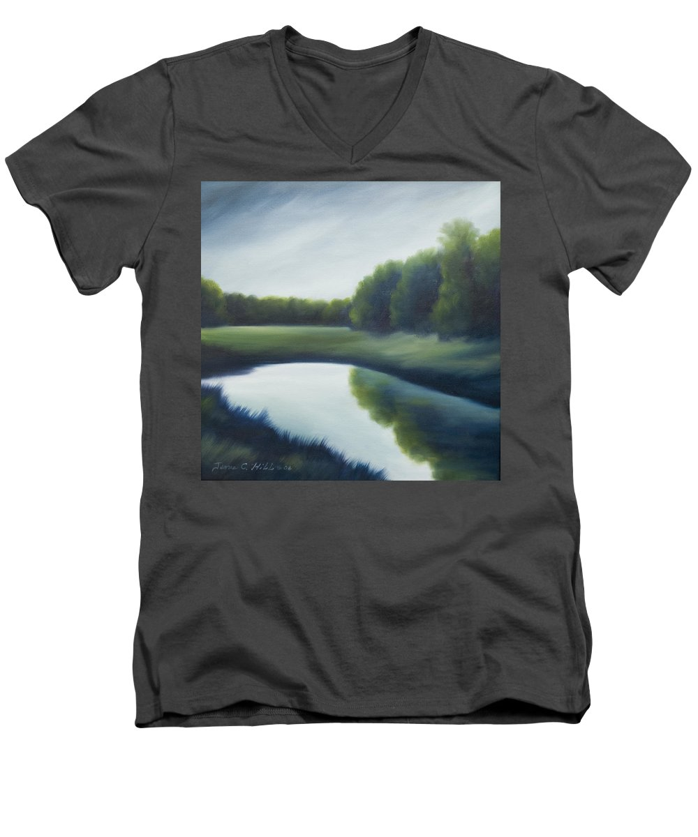 Clouds Men's V-Neck T-Shirt featuring the painting A Day In The Life 2 by James Christopher Hill