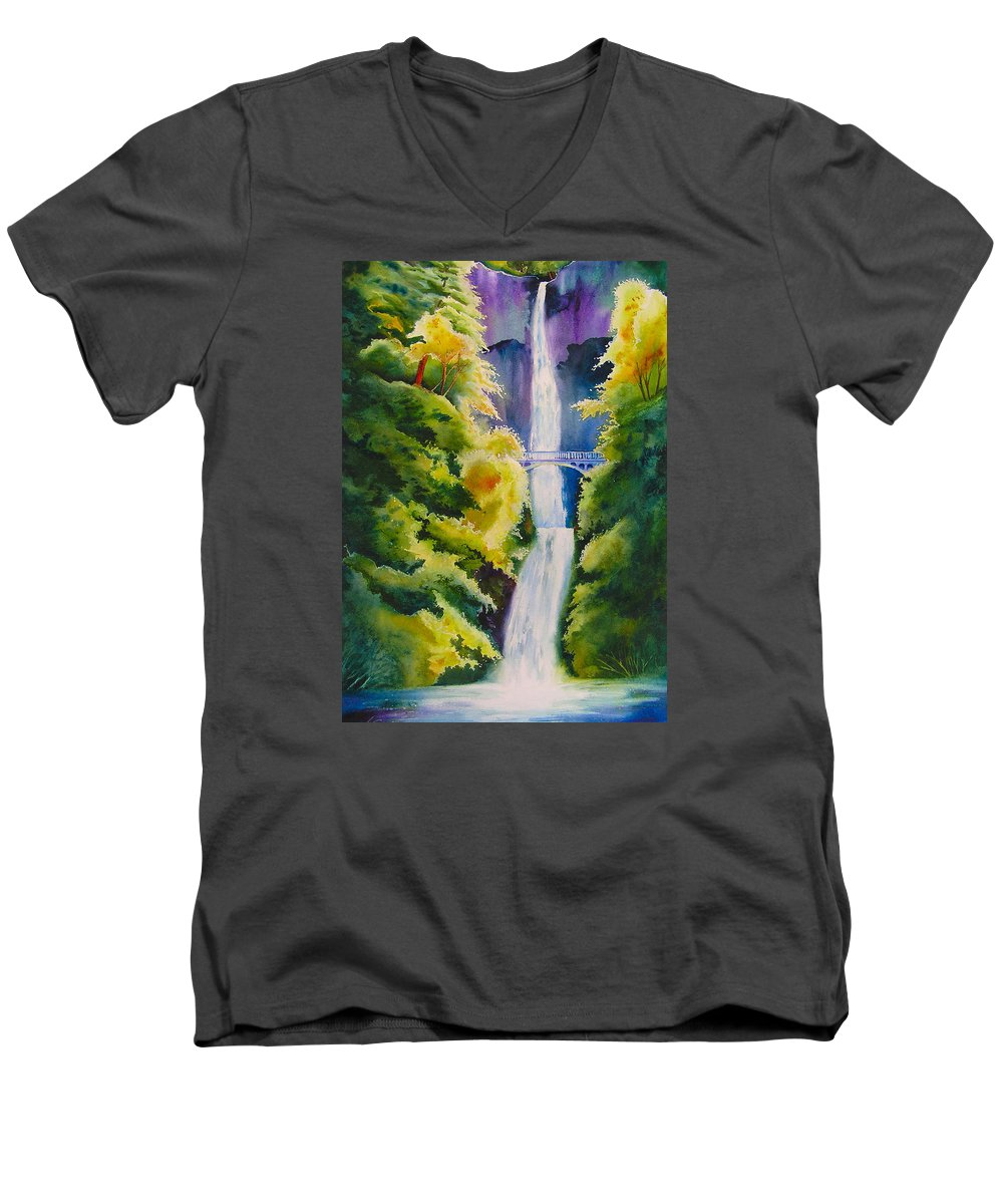 Waterfall Men's V-Neck T-Shirt featuring the painting A Favorite Place by Karen Stark