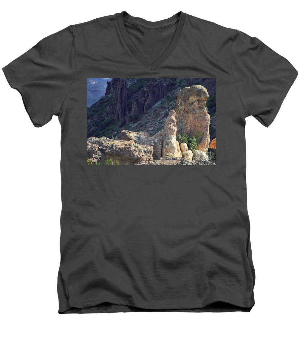Rock Formations Men's V-Neck T-Shirt featuring the photograph A Hard Ride by Kathy McClure