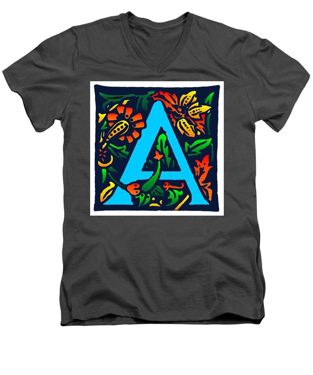 Alphabet Men's V-Neck T-Shirt featuring the digital art A In Blue by Kathleen Sepulveda