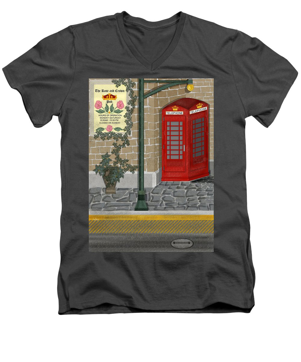 Cityscape Men's V-Neck T-Shirt featuring the painting A Merry Old Corner In London by Anne Norskog