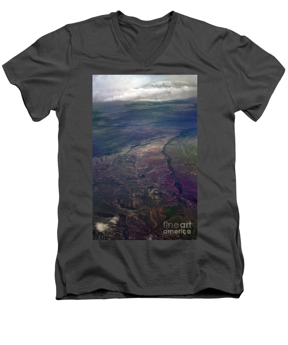 Aerial Photography Men's V-Neck T-Shirt featuring the photograph A Midwestern Landscape by Richard Rizzo