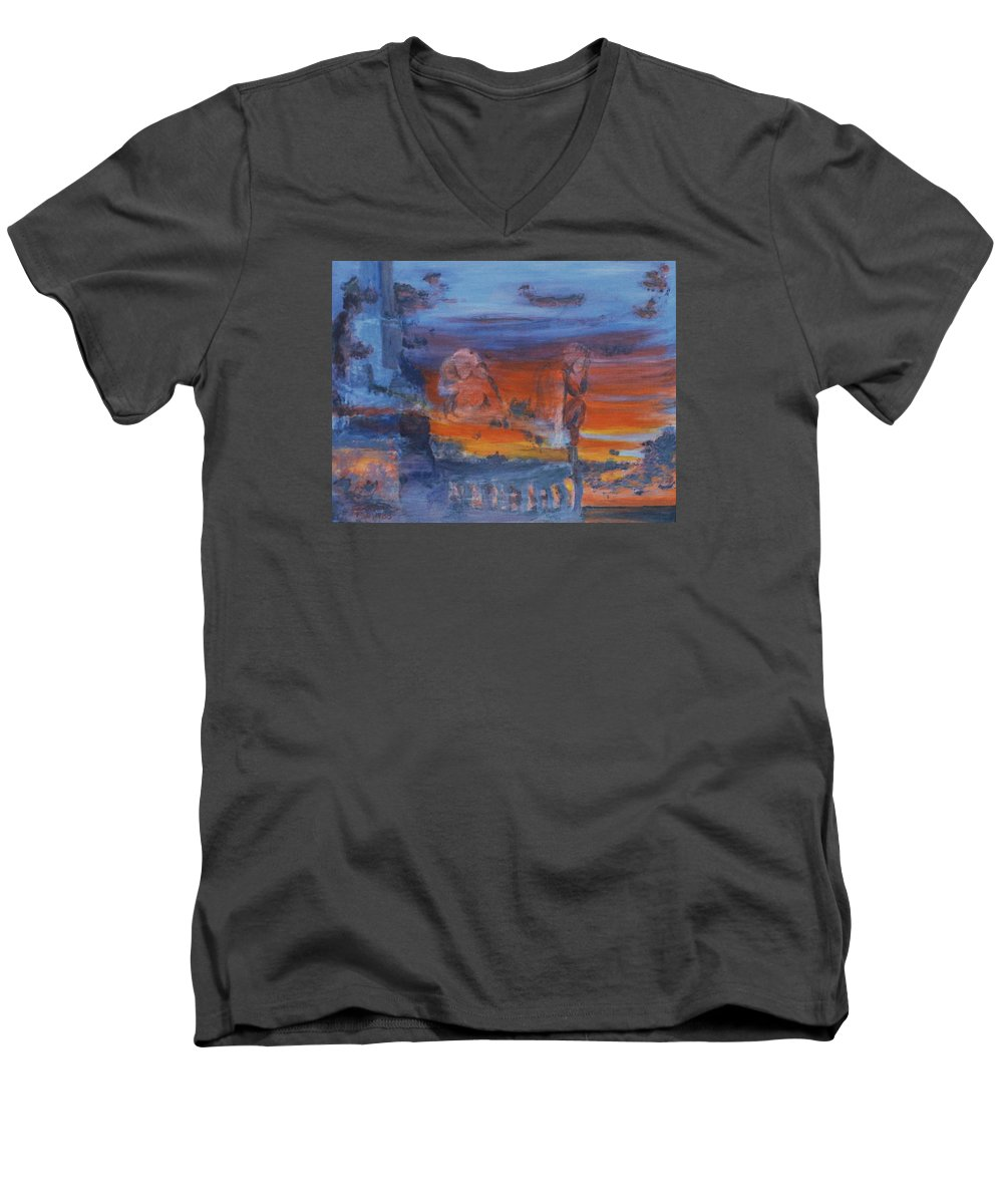 Abstract Men's V-Neck T-Shirt featuring the painting A Mystery Of Gods by Steve Karol