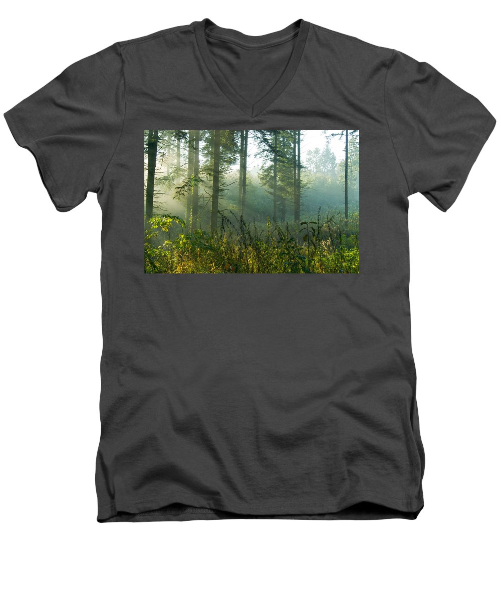 Nature Men's V-Neck T-Shirt featuring the photograph A New Day Has Come by Daniel Csoka