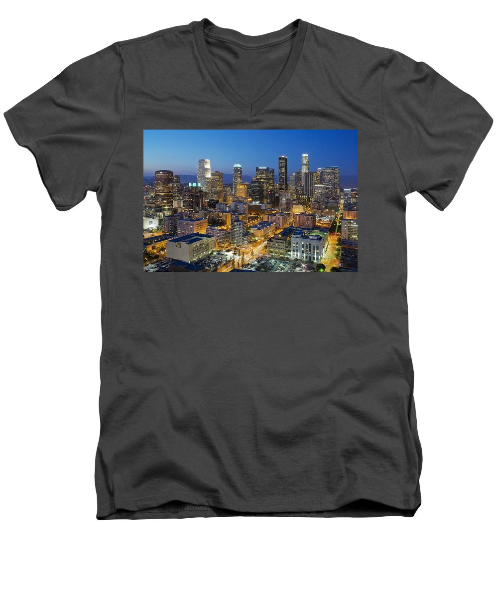 Los Angeles Men's V-Neck T-Shirt featuring the photograph A Night In L A by Kelley King