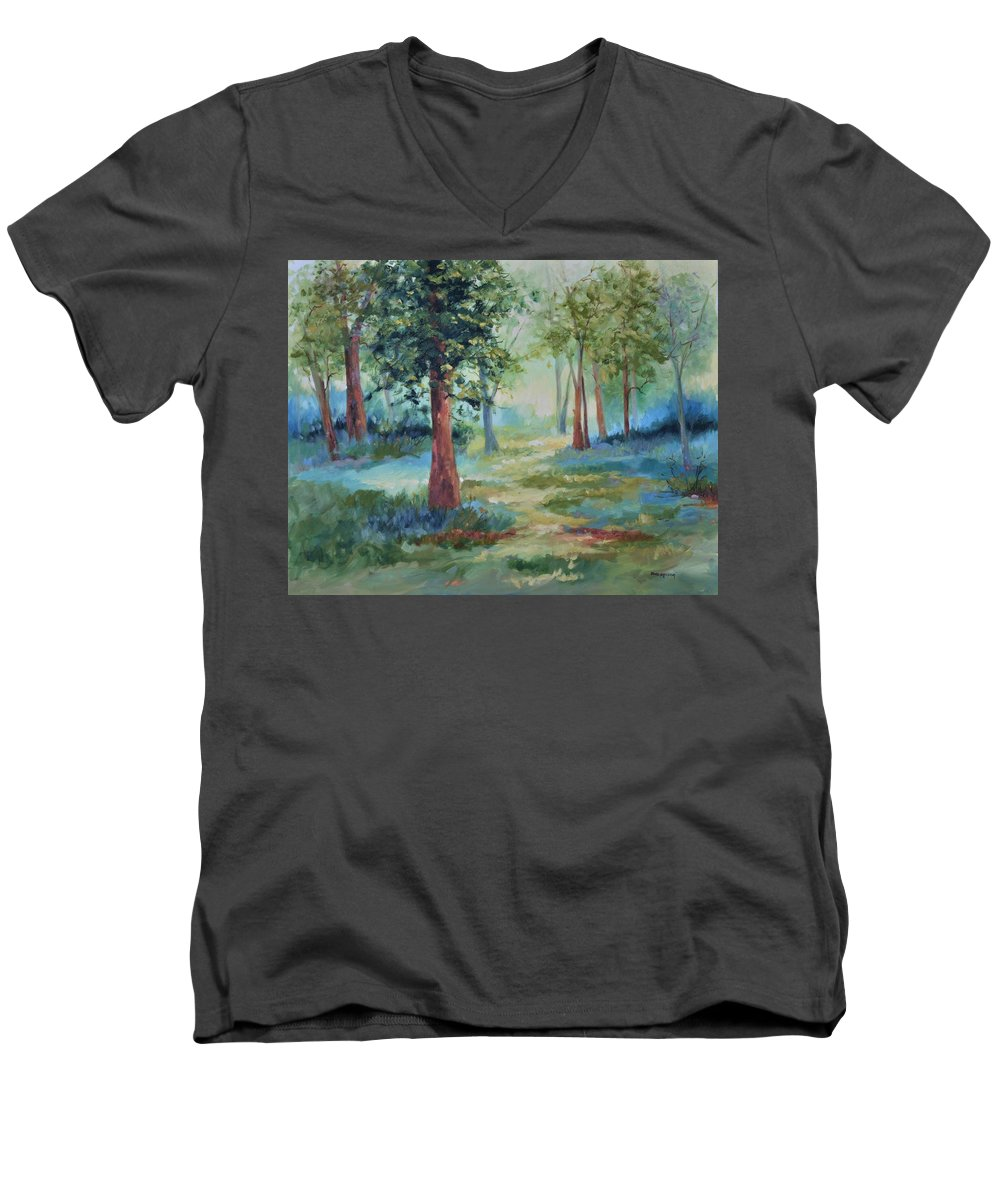 Trees Men's V-Neck T-Shirt featuring the painting A Path Not Taken by Ginger Concepcion