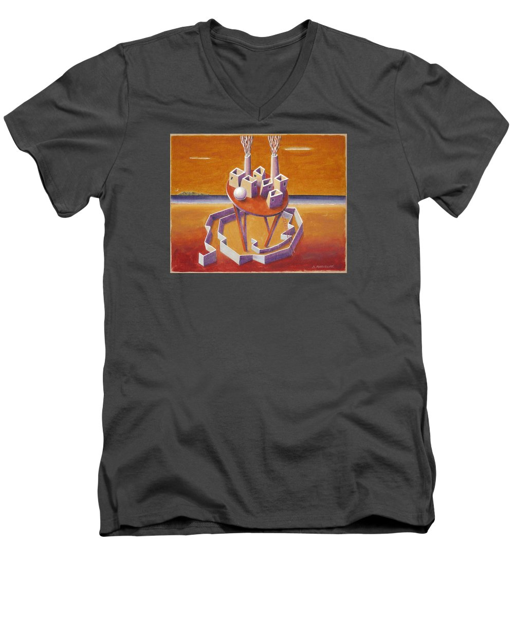 Metaphysical Symbolic Sureal Surrealist Greece Greek Landscape Factory Architecture Seascape Ball Men's V-Neck T-Shirt featuring the painting A Peasents Dream by Dimitris Milionis