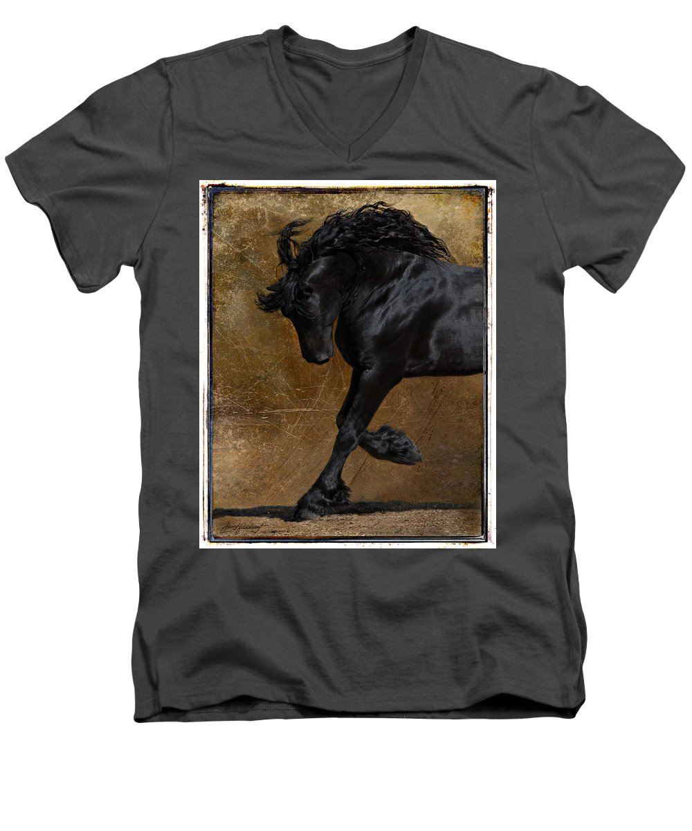 Horse Men's V-Neck T-Shirt featuring the photograph A Regal Bow by Jean Hildebrant