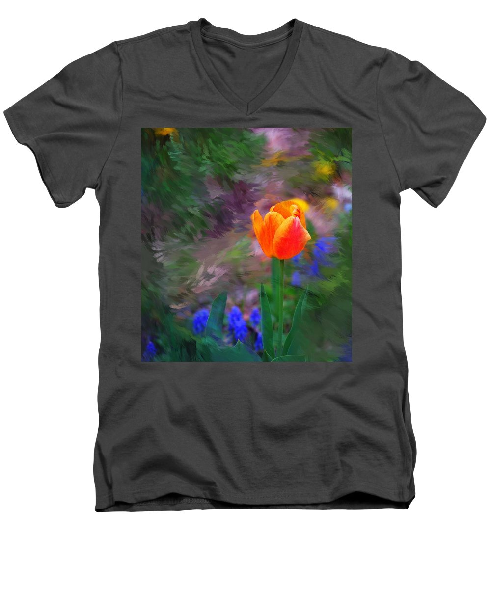 Floral Men's V-Neck T-Shirt featuring the digital art A Tulip Stands Alone by David Lane