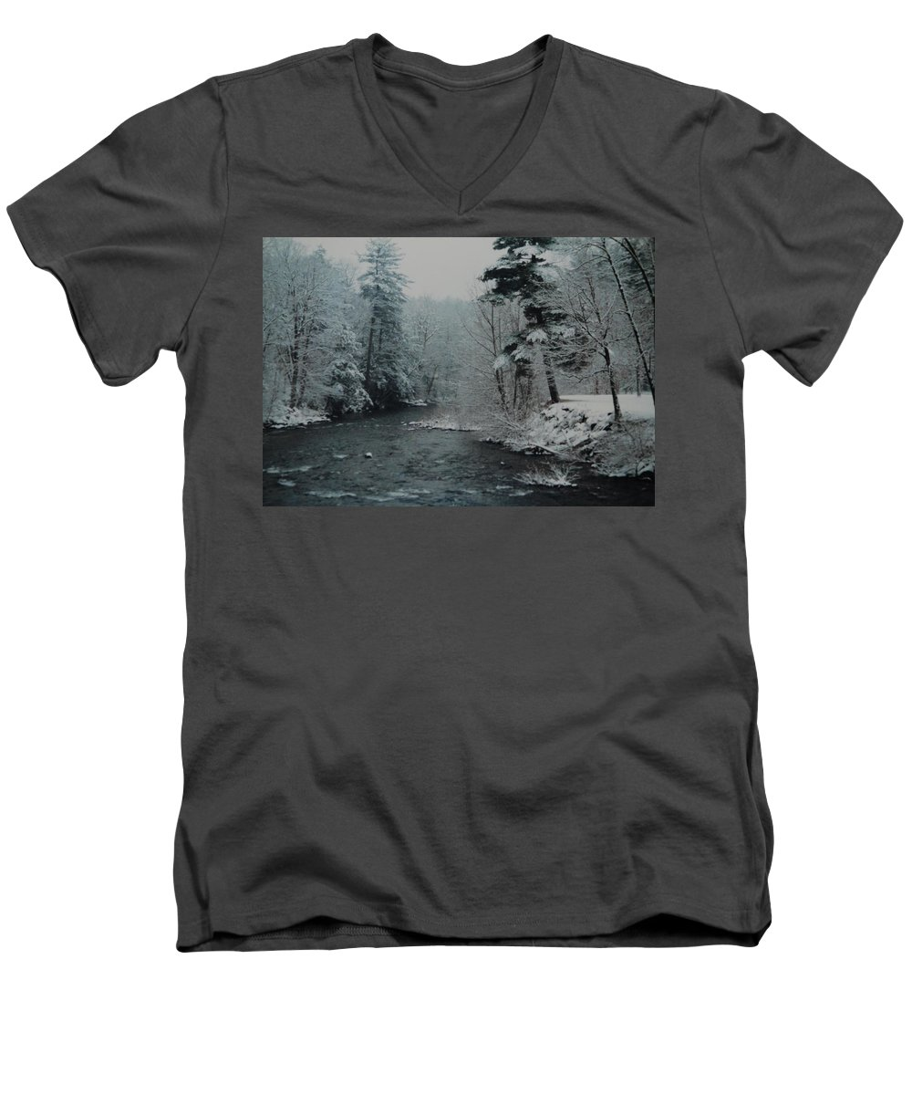 B&w Men's V-Neck T-Shirt featuring the photograph A Winter Waterland by Rob Hans