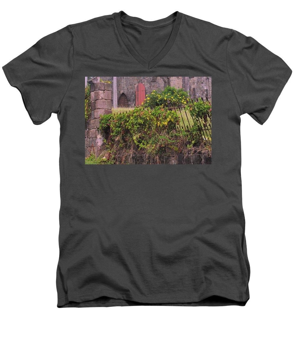 Anglican Men's V-Neck T-Shirt featuring the photograph Abandoned Churchyard by Ian MacDonald