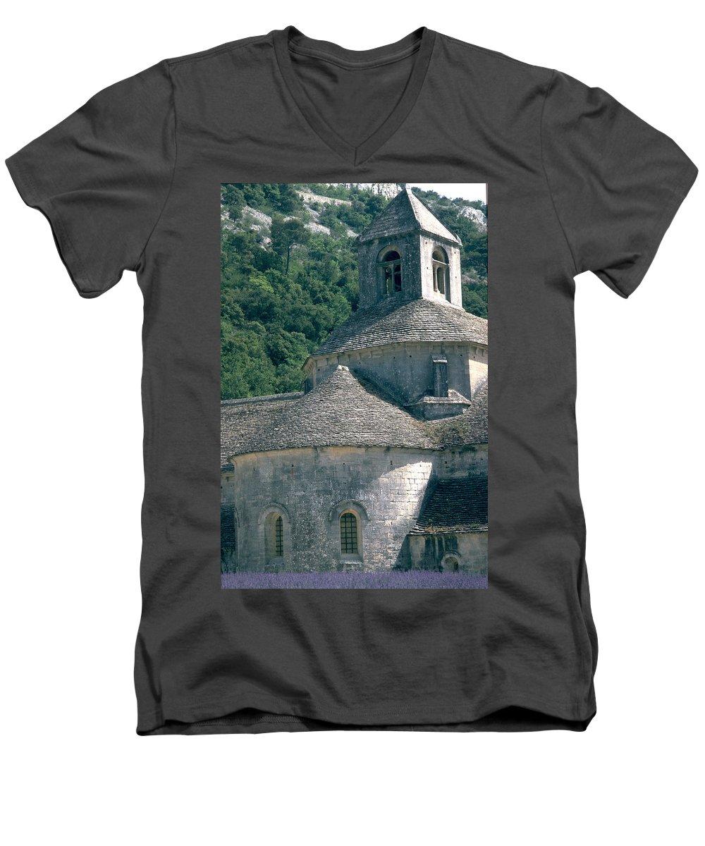 Abbeye De Senanque Men's V-Neck T-Shirt featuring the photograph Abbeye De Senanque by Flavia Westerwelle