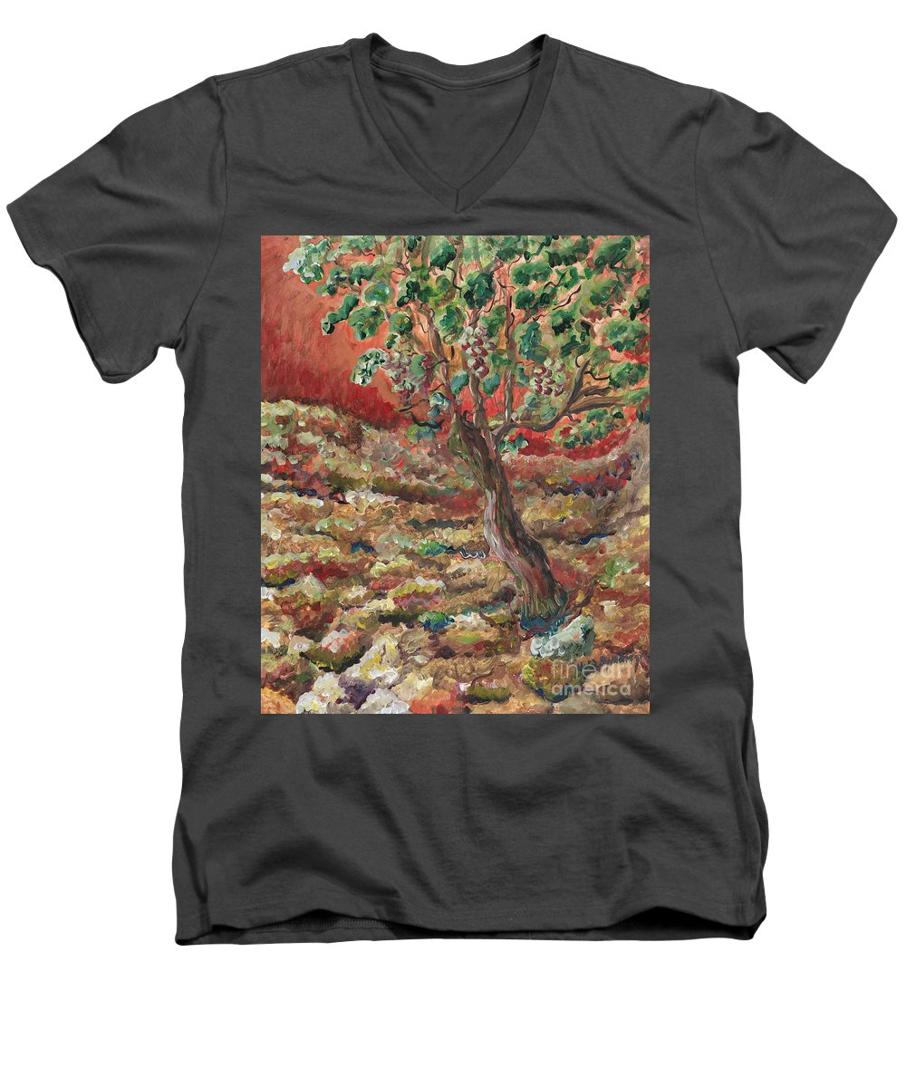 Abide Men's V-Neck T-Shirt featuring the painting Abide by Nadine Rippelmeyer