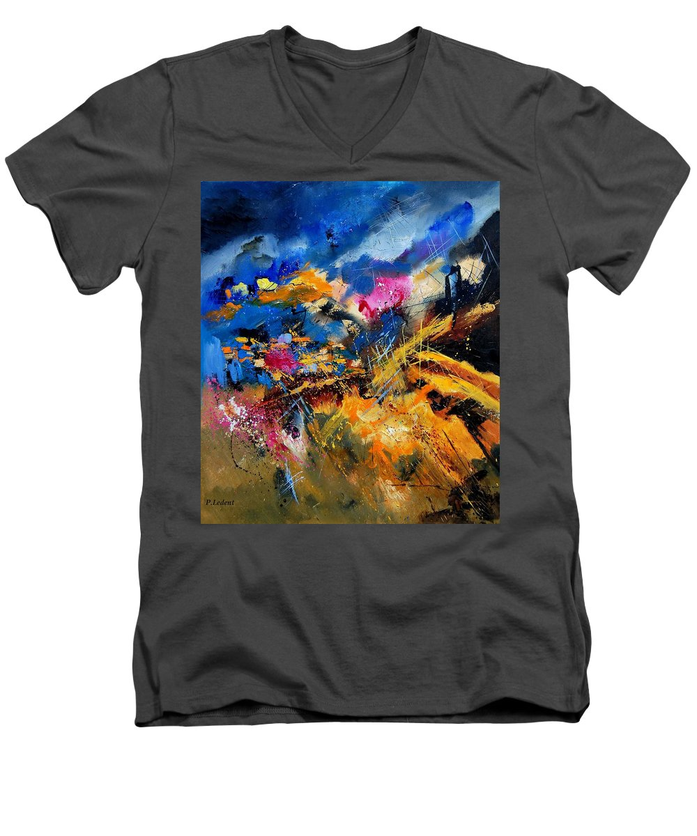 Abstract Men's V-Neck T-Shirt featuring the painting Abstract 7808082 by Pol Ledent